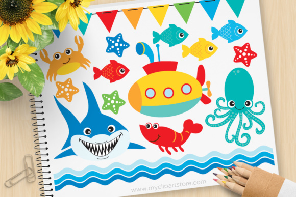 Print on Demand: Under the Sea Clipart Graphic Illustrations By MyClipArtStore