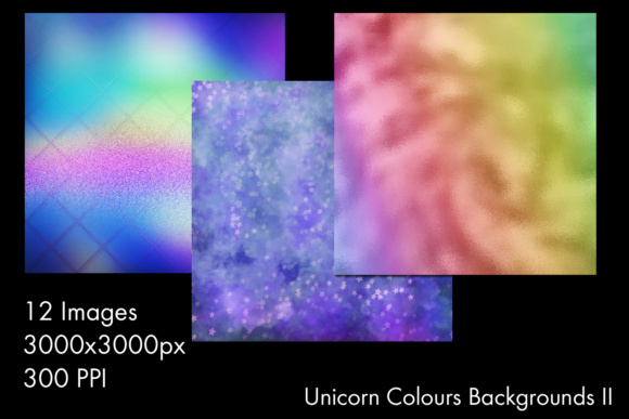 Print on Demand: Unicorn Colours Backgrounds II - 12 Image Set Graphic Backgrounds By SapphireXDesigns - Image 2