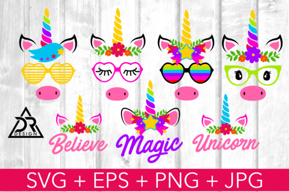 Print on Demand: Unicorn Faces SVG Pack Graphic Illustrations By davidrockdesign