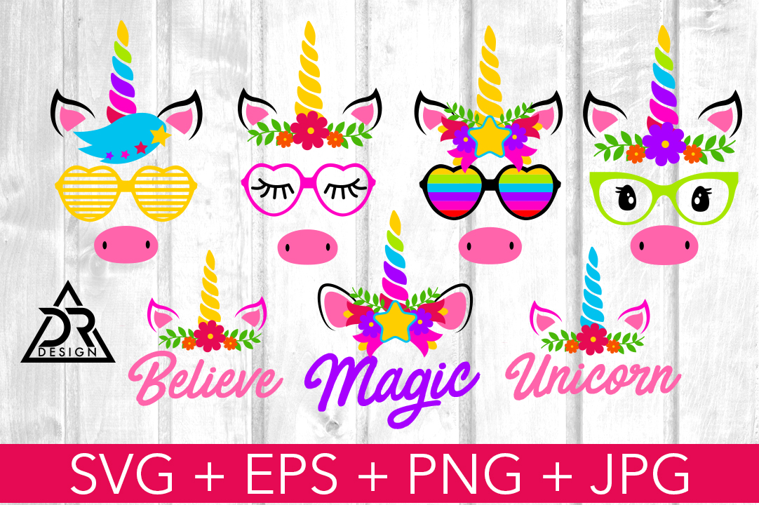 Unicorn Faces Pack Graphic By Davidrockdesign Creative Fabrica