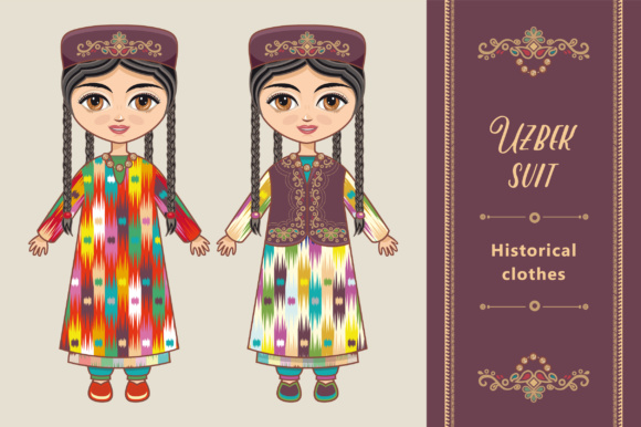Download Free Uzbekistan Doll Graphic By Zoyali Creative Fabrica for Cricut Explore, Silhouette and other cutting machines.