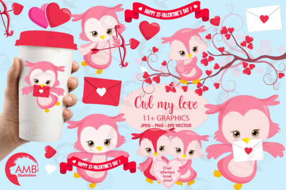 Valentine Owls Clipart Graphic Illustrations By AMBillustrations