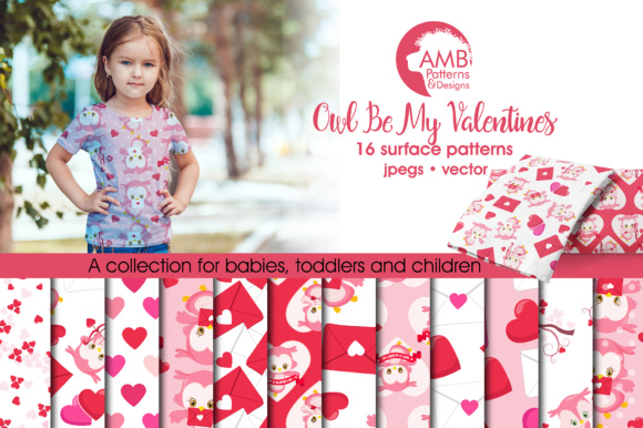 Valentine Owls Papers AMB-1181 Graphic Patterns By AMBillustrations