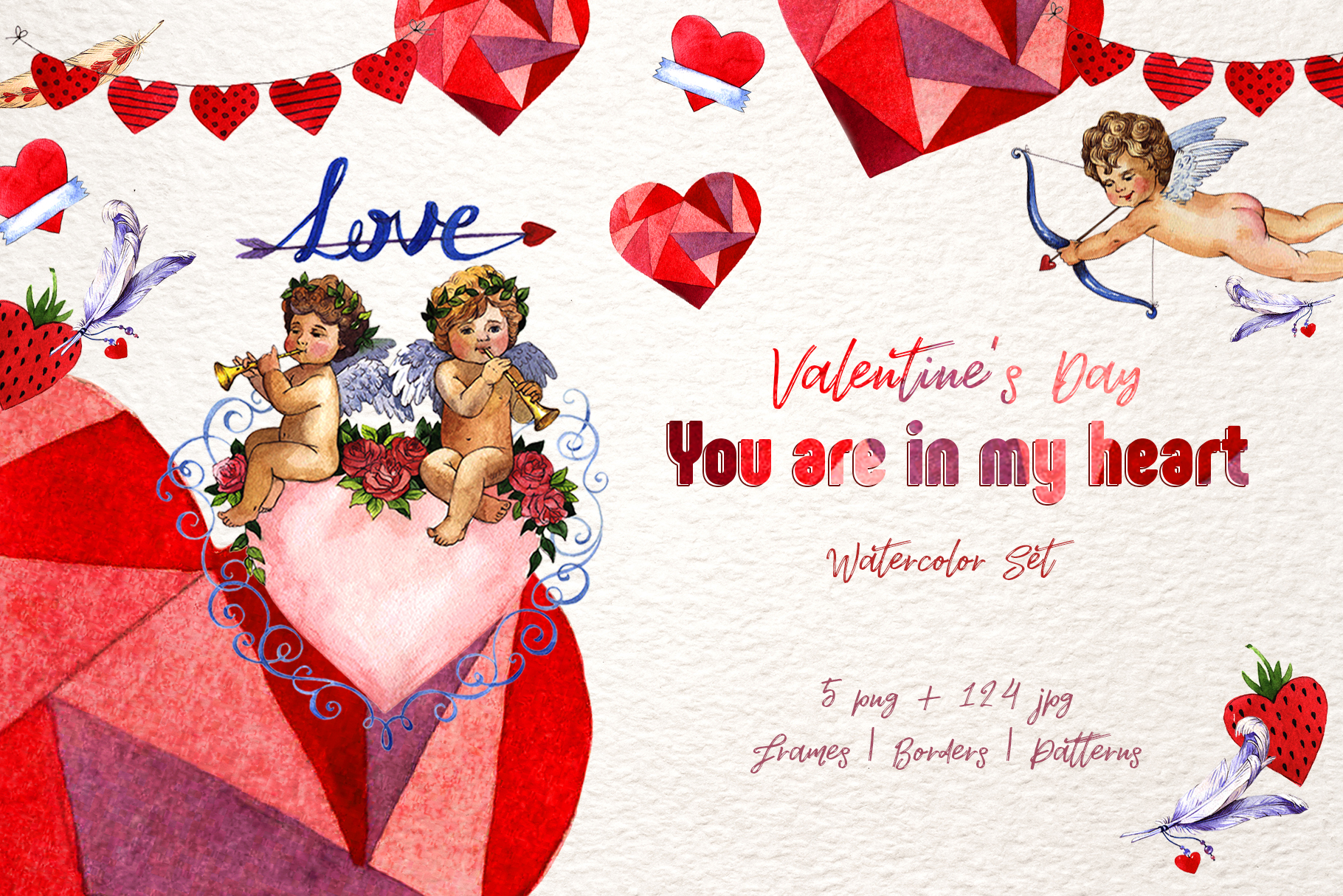 Download Free Valentines Day Watercolor Set Graphic By Mystocks Creative Fabrica for Cricut Explore, Silhouette and other cutting machines.