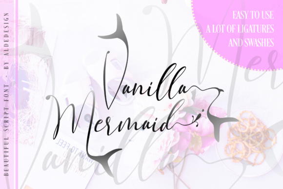Print on Demand: Vanilla Mermaid Script Script & Handwritten Font By aldedesign