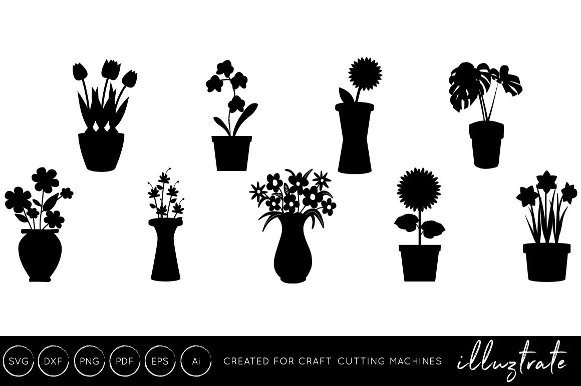 Download Free Vase Graphic By Illuztrate Creative Fabrica for Cricut Explore, Silhouette and other cutting machines.