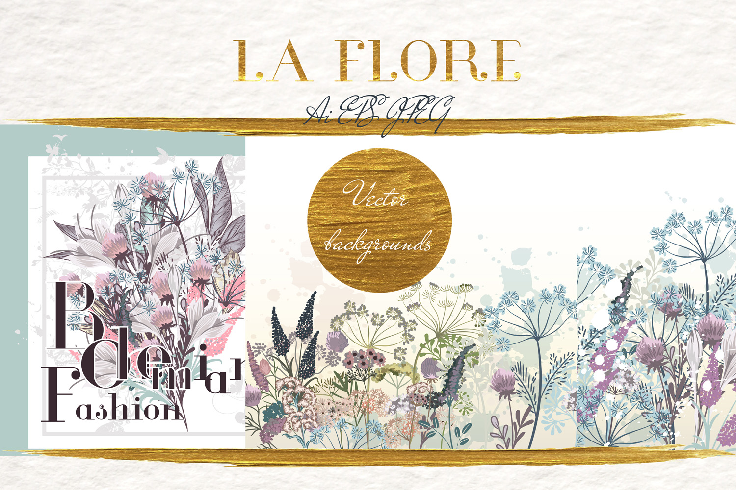 Vector Floral Backgrounds Set In Rustic Watercolor Style Graphic