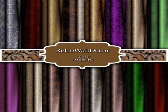 Print on Demand: Velvet Curtains Digital Papers Graphic Backgrounds By retrowalldecor
