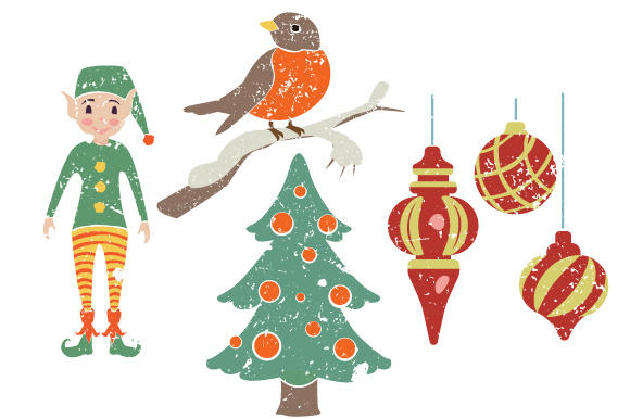 Download Free 4 Vintage Christmas Elements Svg Cut File By Creative Fabrica for Cricut Explore, Silhouette and other cutting machines.