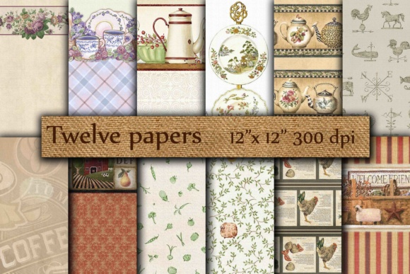 Vintage Digital Paper Graphic Backgrounds By twelvepapers