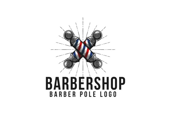 Download Free Vintage Hand Drawn Crossed Barber Pole Logo Grafico Por for Cricut Explore, Silhouette and other cutting machines.