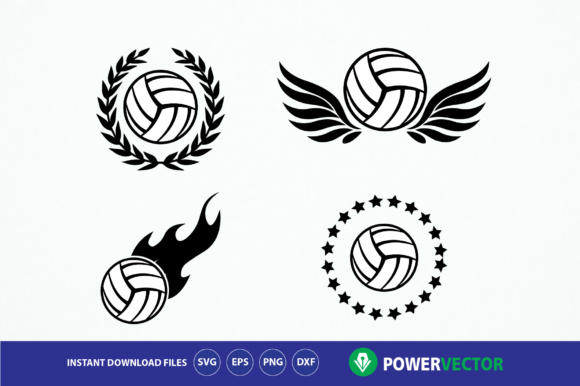 Download Free Volleyball Team Logo Emblem Design Graphic By Powervector for Cricut Explore, Silhouette and other cutting machines.