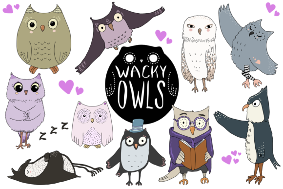 Wacky Owls Clip Art Illustrations Graphic By Jen Digital Art