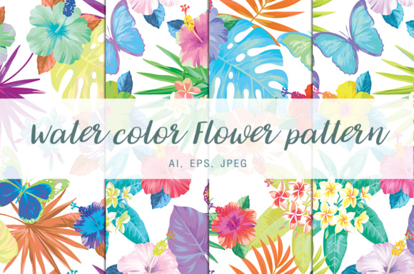 Print on Demand: Water Color Flower Pattern Graphic Illustrations By vito12