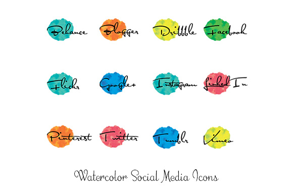 Print on Demand: Watercolor Social Media Icons Graphic Icons By Anjana Designs