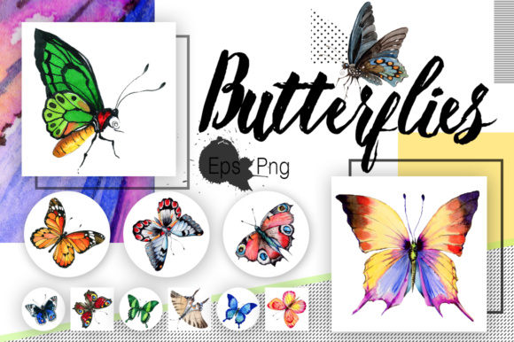 Print on Demand: Watercolor Butterflies Graphic Illustrations By MyStocks