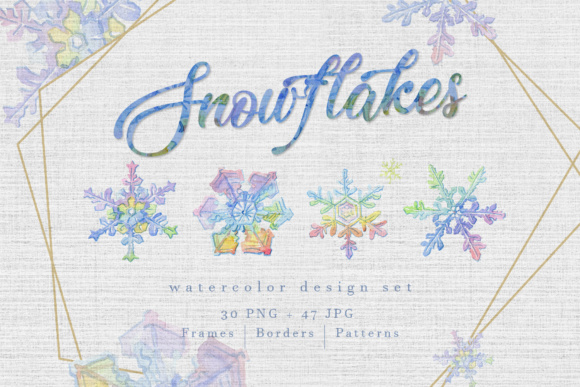 Print on Demand: Watercolor Colorful Snowflakes PNG Set Graphic Illustrations By MyStocks