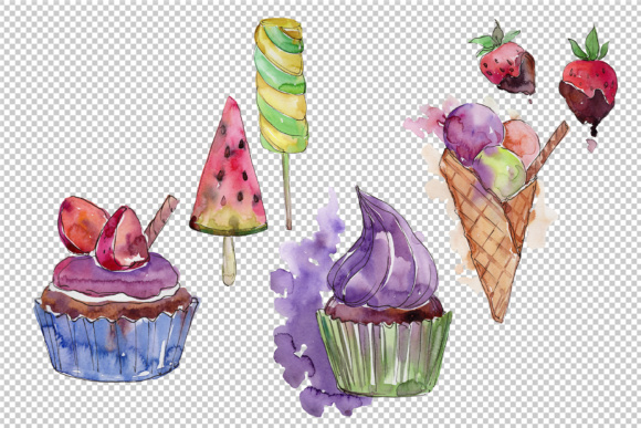 Print on Demand: Watercolor Mix Cool Ice Cream Graphic Illustrations By MyStocks