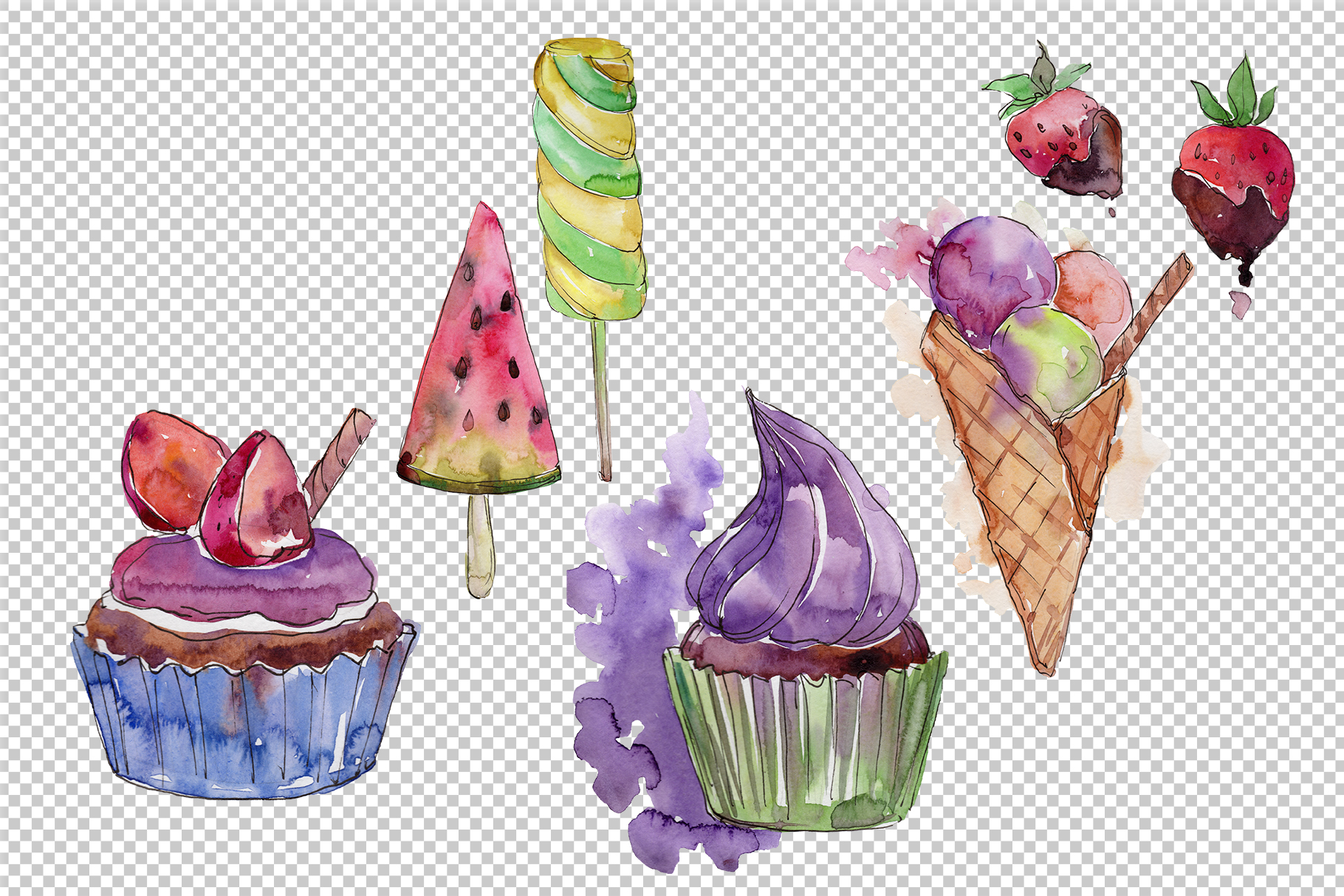 Download Free Watercolor Mix Cool Ice Cream Graphic By Mystocks Creative Fabrica for Cricut Explore, Silhouette and other cutting machines.