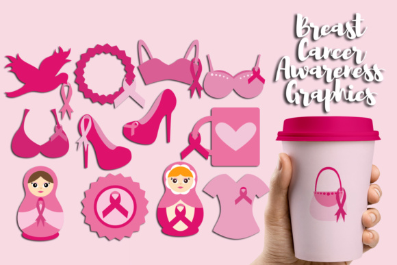 Print on Demand: Wear Pink Ribbon, Breast Cancer Awareness Month Graphic Illustrations By Revidevi