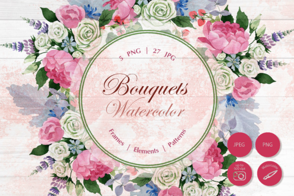 Print on Demand: Wedding Watercolor Bouquets Graphic Illustrations By MyStocks