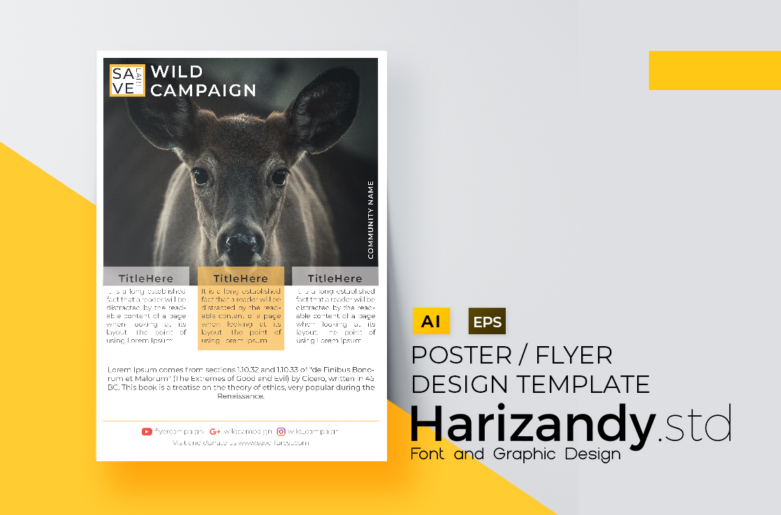 Download Free Wild Campaign Flyer Design Graphic By Harizandy Creative Fabrica for Cricut Explore, Silhouette and other cutting machines.