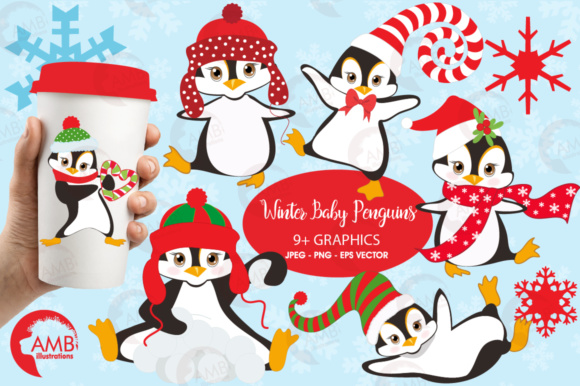 Winter Penguin Clipart Graphic Illustrations By AMBillustrations