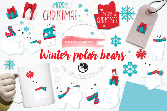 Print on Demand: Winter Polar Bears Graphic Illustrations By Prettygrafik