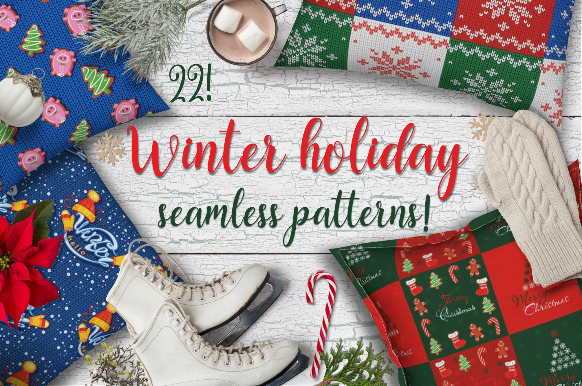Download Free Winter Holiday Patterns Christmas Mood Graphic By Grigaola for Cricut Explore, Silhouette and other cutting machines.