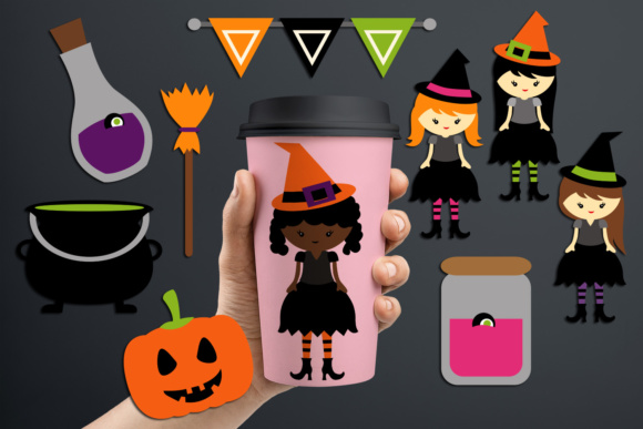 Print on Demand: Witch Girl Halloween Night Graphic Illustrations By Revidevi