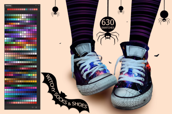 Witchy Socks & Shoes Ps Swatches Graphic Add-ons By FaeryDesign - Image 1