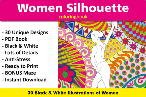 Women Silhouette Coloring Book - 30 Unique Illustrations Graphic Coloring Pages & Books Adults By ColoringBooks101