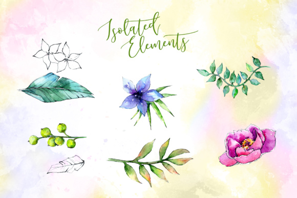 Wonderful Tropical Plant PNG Watercolor Set Graphic By MyStocks Image 3