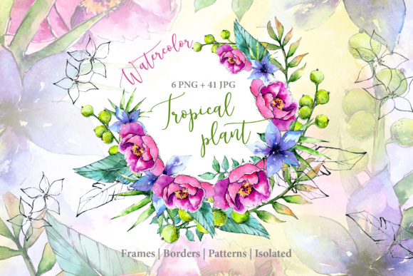 Wonderful Tropical Plant PNG Watercolor Set Graphic By MyStocks Image 1
