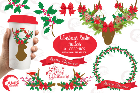 Download Free Xmas Antlers Clipart Graphic By Ambillustrations Creative Fabrica for Cricut Explore, Silhouette and other cutting machines.