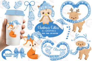 Xmas Crittes Blue Clipart Graphic Illustrations By AMBillustrations