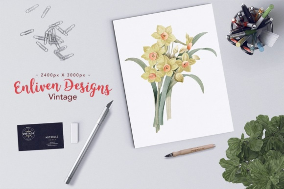 Yellow Daffodil Watercolor Flower Graphic Illustrations By Enliven Designs - Image 2