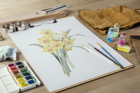 Yellow Daffodil Watercolor Flower Graphic Illustrations By Enliven Designs - Image 7