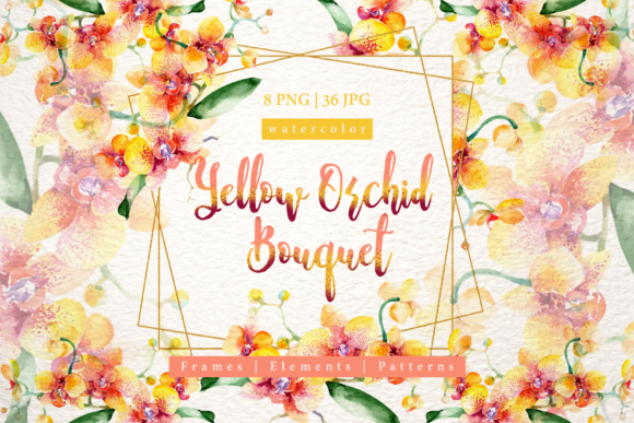 Print on Demand: Yellow Orchid Bouquet Watercolor Design Set Graphic Illustrations By MyStocks