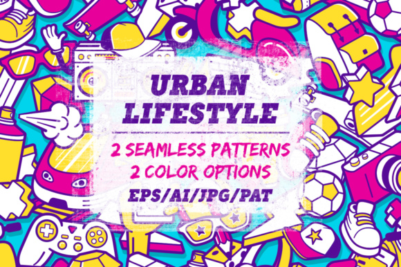 Youth Lifestyle Seamless Patterns Graphic Patterns By Yurlick