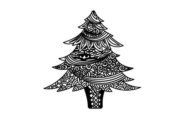 Download Free Zentangle Christmas Tree Svg Cut File By Creative Fabrica Crafts for Cricut Explore, Silhouette and other cutting machines.