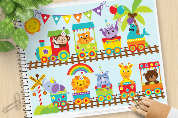 Print on Demand: Zoo Train Clipart Graphic Illustrations By MyClipArtStore