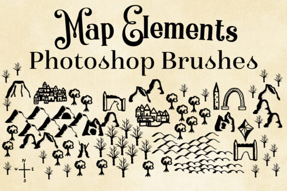 Download Free Map Elements Photoshop Brushes Graphic By Sapphirexdesigns for Cricut Explore, Silhouette and other cutting machines.