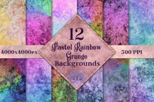Print on Demand: Pastel Rainbow Grunge Backgrounds - 12 Image Set Graphic Backgrounds By SapphireXDesigns