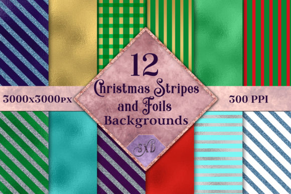 Print on Demand: Christmas Stripes and Foils Backgrounds - 12 Image Set Graphic Backgrounds By SapphireXDesigns