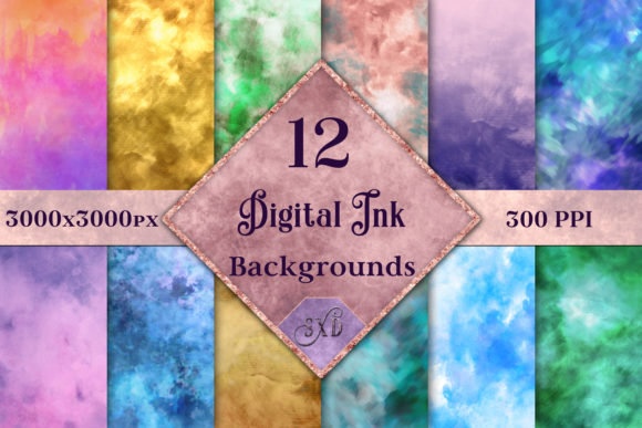 Print on Demand: Digital Ink Backgrounds - 12 Image Set Graphic Backgrounds By SapphireXDesigns - Image 1