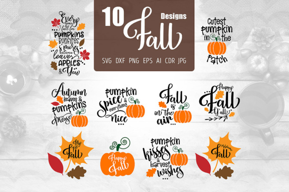 Download Free 10 Fall Designs Graphic By Vector City Skyline Creative Fabrica for Cricut Explore, Silhouette and other cutting machines.