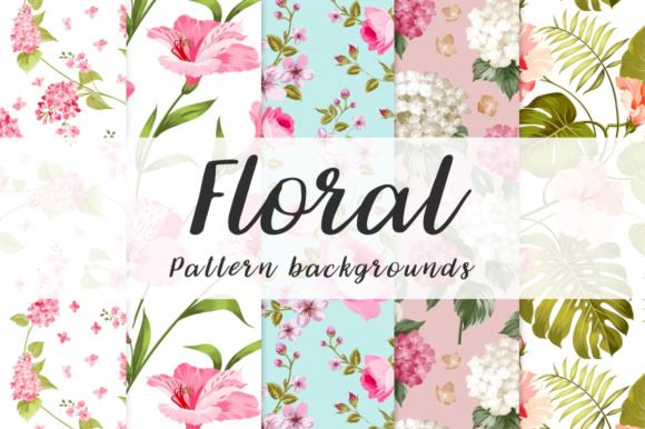 Print on Demand: 10 floral seamless Pattern background Graphic Illustrations By vito12