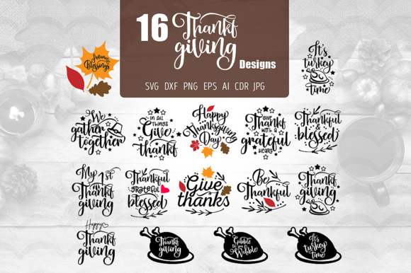 Download Free 16 Thanksgiving Designs Graphic By Vector City Skyline for Cricut Explore, Silhouette and other cutting machines.