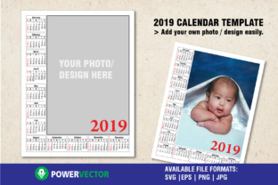2019 Calendar Template Graphic Print Templates By PowerVECTOR
